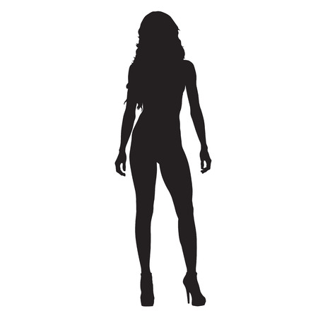 Standing slim sexy woman vector silhouette