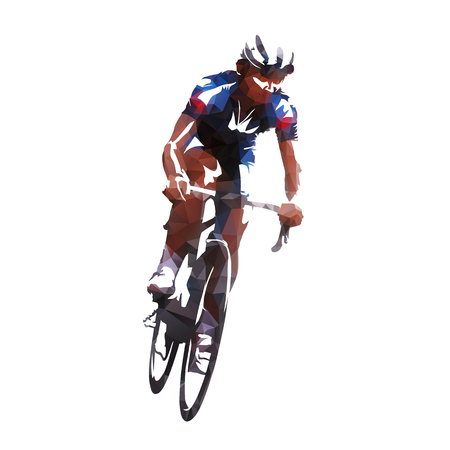 Road cycling rider, abstract geometric vector cyclist
