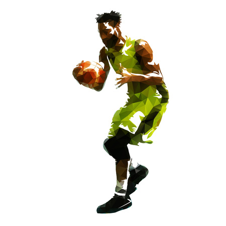 Basketball player with ball, abstract geometric vector illustration