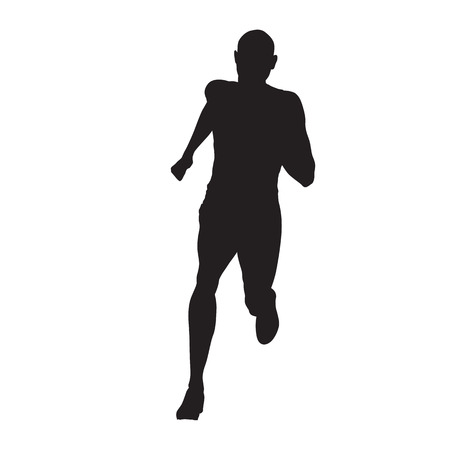 Running man, isolated vector silhouette Illustration