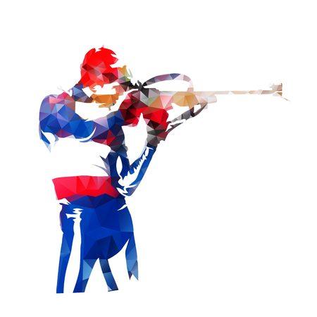 Biathlon racen, staand schieten. Abstracte lage poly vectorillustratie