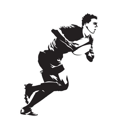 Rugby player running with ball, abstract vector silhouette