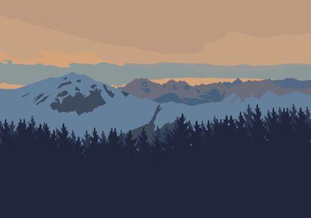 winter sunrise: High mountains landscape at sunset. Flat vector illustration