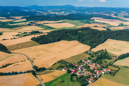 Summer aerial view of south Bohemia, in the background of the Å umava. Czech Republic