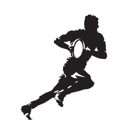 Der Rugbyspieler, der mit Ball, abstrakter Vektor läuft, lokalisierte Schattenbild. Seitenansicht. Mannschaftssport