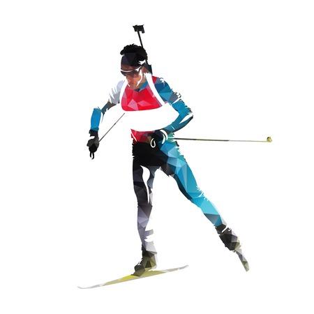 Biathlon race, skiing man in colorful jersey. Isolated vector illustration Stock Illustratie