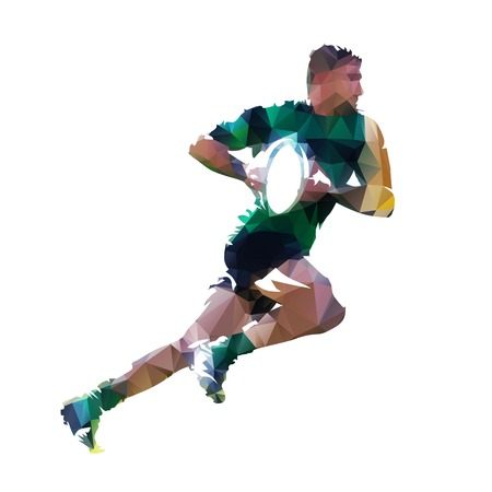 Running rugby player with ball, abstract low poly isolated vector illustration Illustration