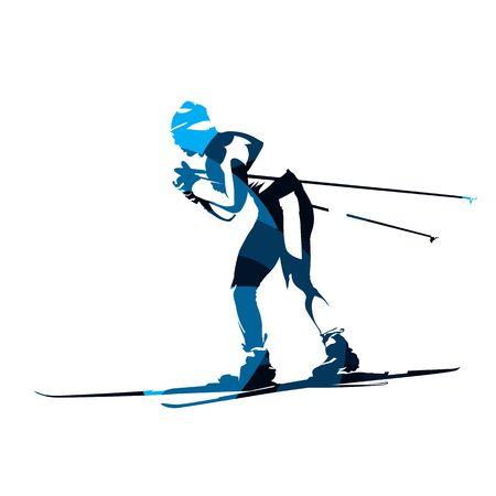 スキーヤー、抽象的な青いベクトル シルエット、サイドビューをクロスします。