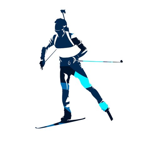 Biathlon skier, abstract blue vector silhouette, front view Illustration