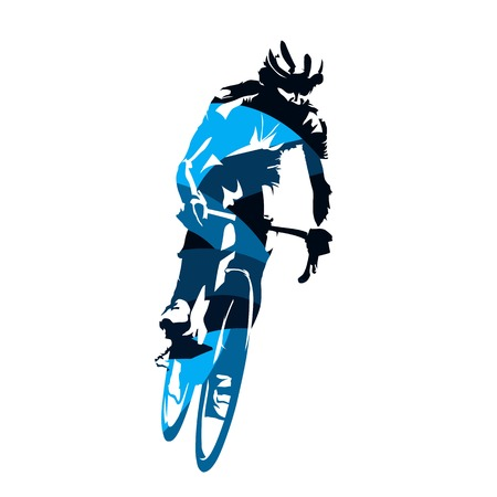 Road cycling, cyclist riding bike, abstract blue vector silhouette, front view