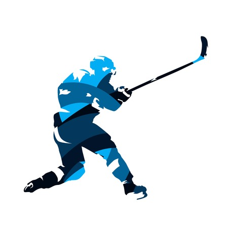 Ice hockey player shooting puck, abstract blue vector silhouette
