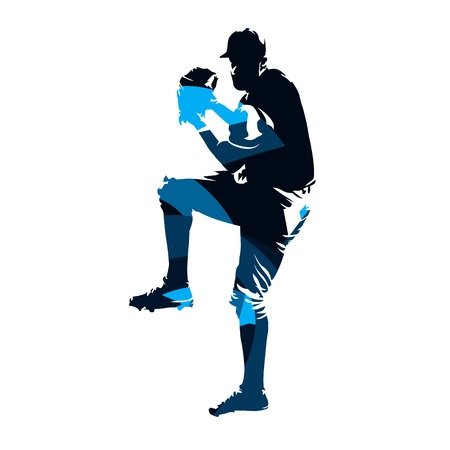 Baseball player, abstract blue vector silhouette