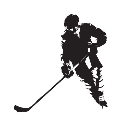 Ice hockey player, abstract vector silhouette, front view