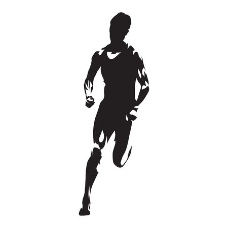 Running man silhouette illustration.