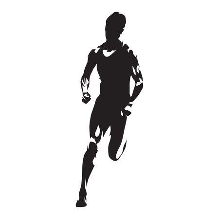 Running man silhouette illustration.