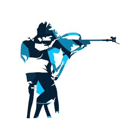 Biathlon shooting illustration. Banco de Imagens - 91495941