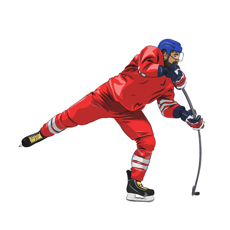 Ice hockey player in red jersey shooting puck, isolated vector illustration.