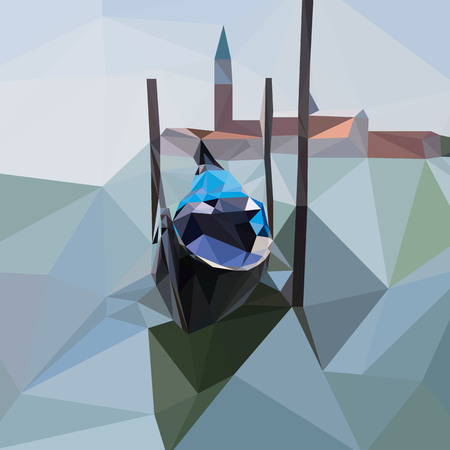 Gondola floats on the water in Venice, Italy abstract low poly vector illustration.