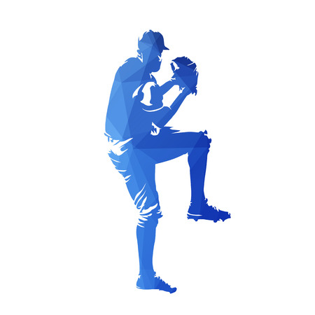 Baseball player throwing ball, blue geometric isolated vector silhouette