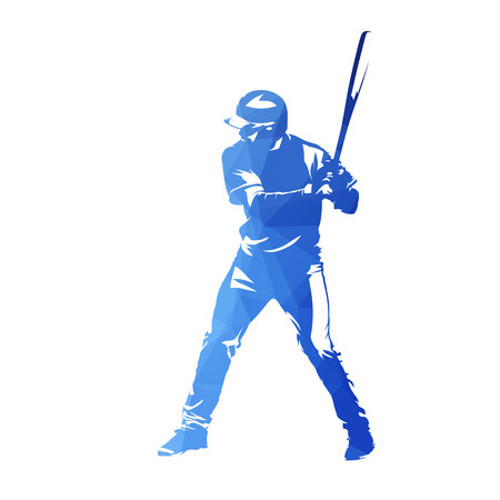 Baseball player with bat, blue geometric isolated vector silhouette