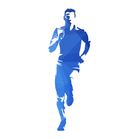 Running man, abstract blue geometric runner, vector silhouette. Runner, front view