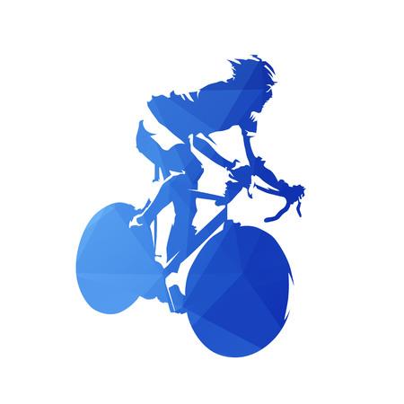 Logotipo de ciclismo, abstrato azul ciclista na bicicleta de estrada, silhueta vector