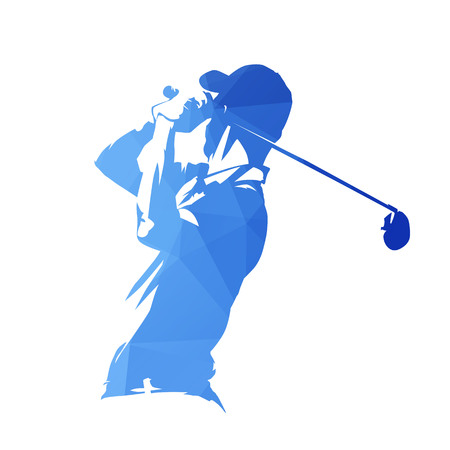 Golf player, abstract blue geometric vector silhouette