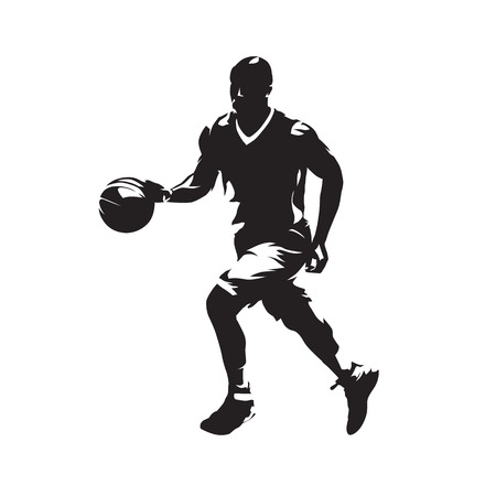 Basketball player dribbles with the ball and running, isolated vector silhouette