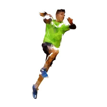 Handbalspeler die bal, veelhoekige vector geïsoleerde illustratie schieten