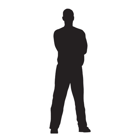 Man stands with his legs crooked and his arms folded, isolated vector silhouette