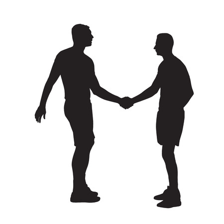 Two men shaking hands, side view. Vector isolated silhouette