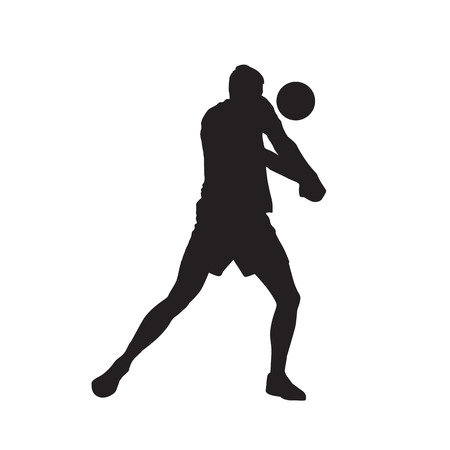 Volleyball player, passing ball, isolated vector silhouette Stock Vector - 94405009
