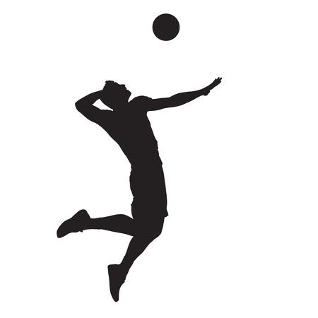 バレーボール選手スパイクボール、孤立ベクトルシルエット。