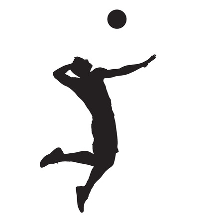 Volleyball player spiking ball, isolated vector silhouette.