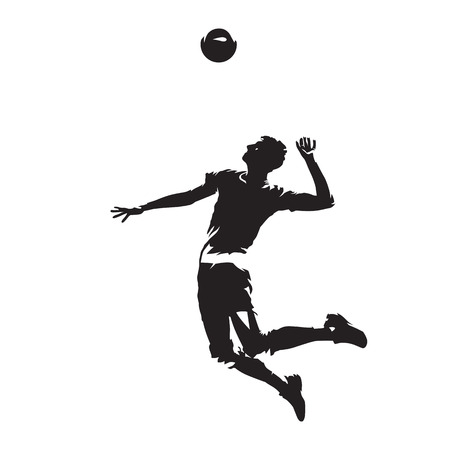 Volleyball player serving ball, abstract vector silhouette