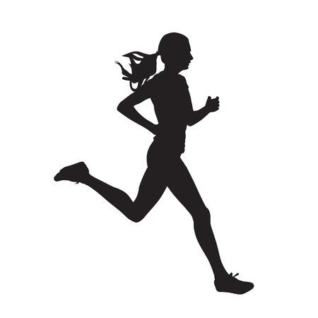 Jonge lopende vrouw, geïsoleerd vectorsilhouet. Rennen, zijaanzicht