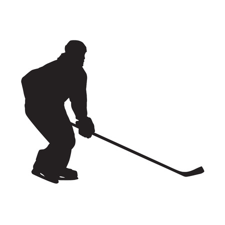 Ice hockey player, isolated vector silhouette. Side view