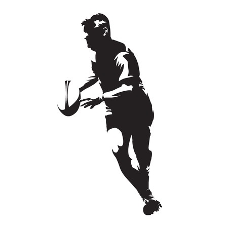 Rugby player running with ball in his hands, abstract vector silhouette 일러스트