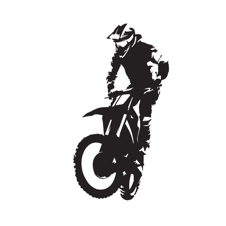 Motocross vector isolated silhouette