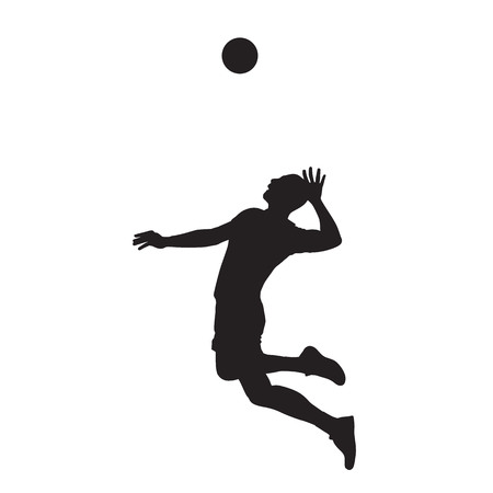 Volleyball player serving ball, isolated vector silhouette. Side view. Team sport