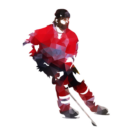 Polygonal ice hockey player, abstract geometric vector silhouette