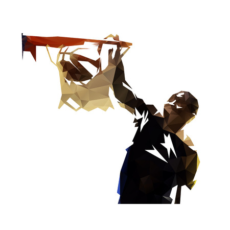 Polygonal basketball player dunking ball, abstract geometric vector silhouette