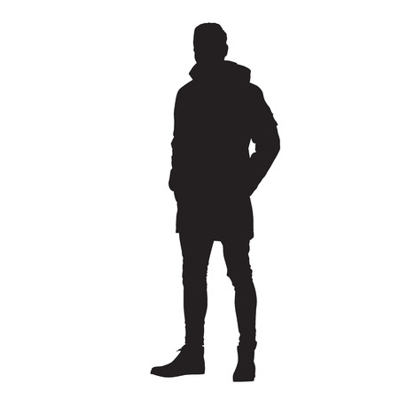 Man standing in winter jacket with hands in his pockets, isoalted vector silhouette.