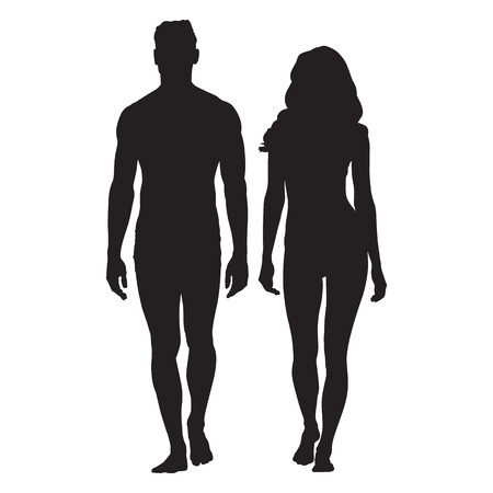 Man and woman body silhouettes. Walking people. Vettoriali