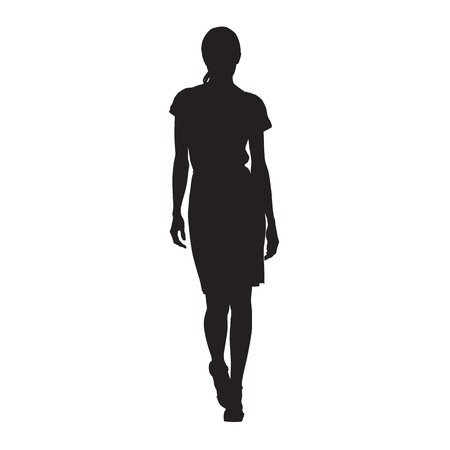 Business woman walking, isolated vector silhouette. Sexy lady, catwalk, front view Stock Illustratie