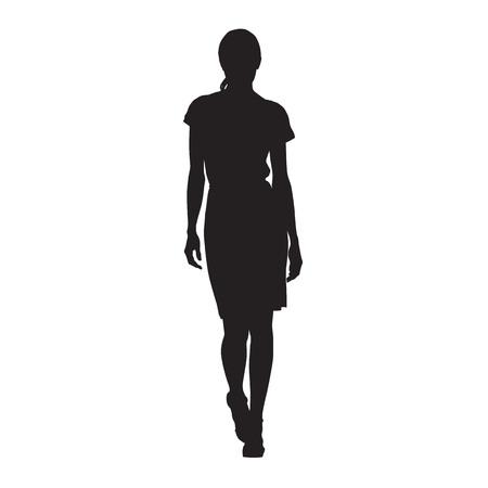 Bedrijfsvrouw die, geïsoleerd vectorsilhouet lopen. Sexy dame, catwalk, vooraanzicht