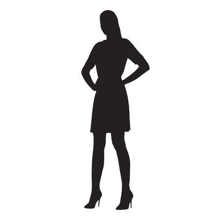 Confident woman standing with arms on her hips. Businesswoman vector silhouette. Vettoriali