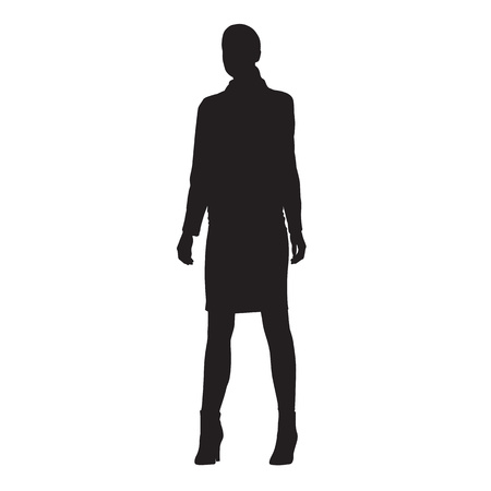 Business woman standing in formal dress, front view. Isolated vector silhouette.