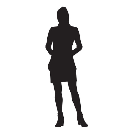 Slim young lady standing with hands in pockets. Isolated vector silhouette. Illusztráció
