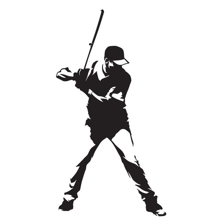 Baseball player standing with bat in his hands, abstract vector silhouette Çizim